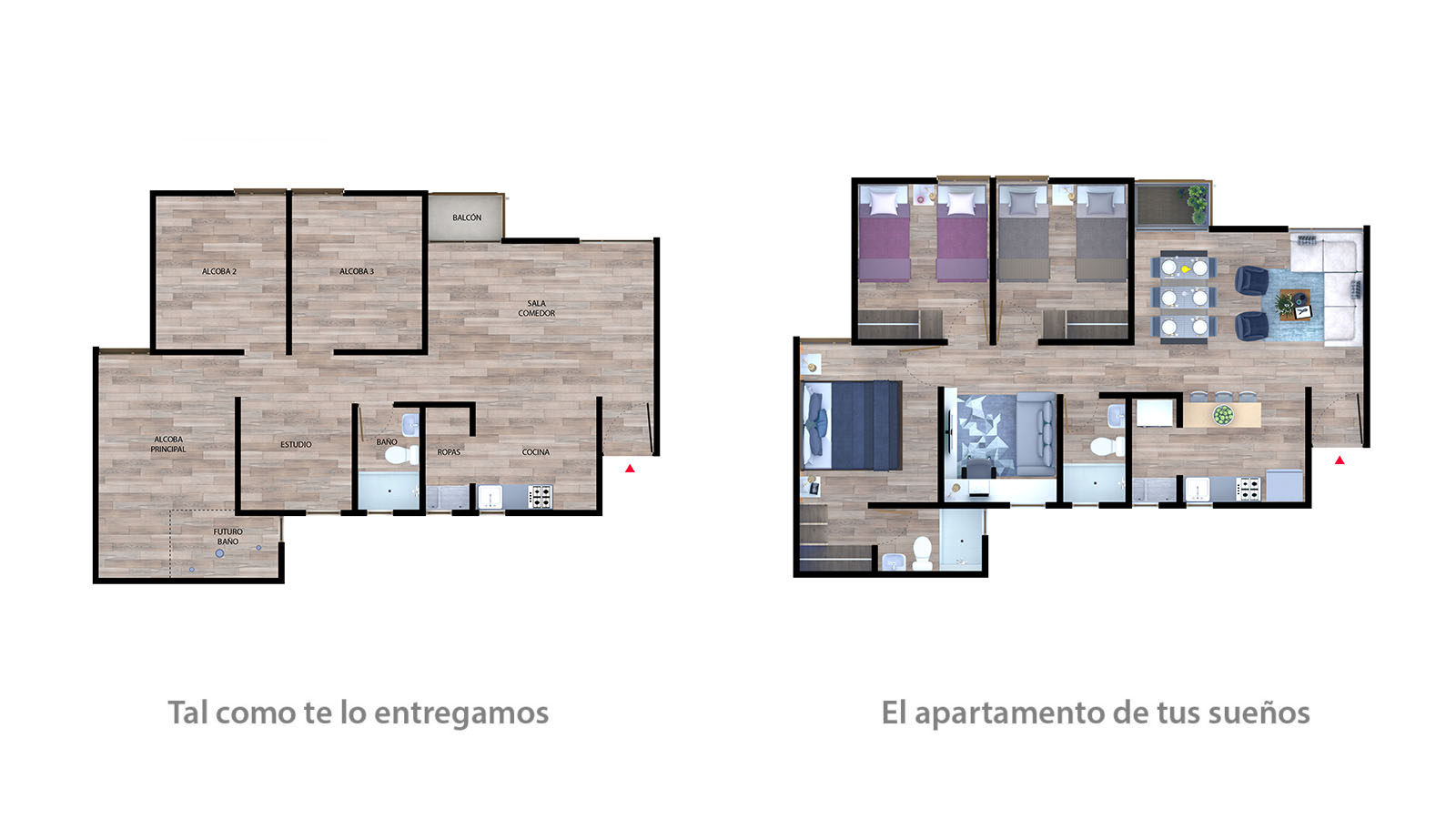 Apto tipo 1 + balcón